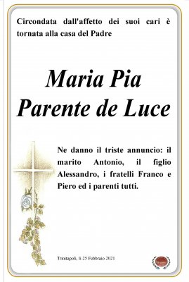 annuncio Parente Maria Pia